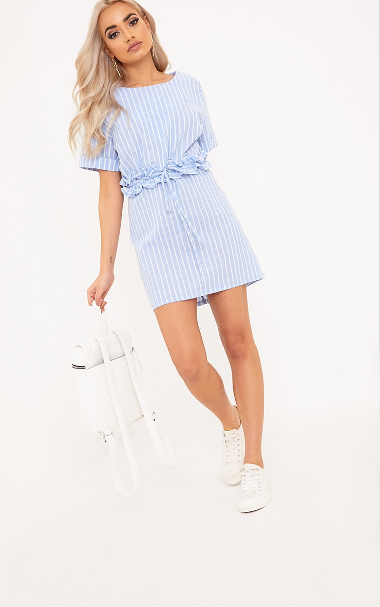 Kendrick Blue Pinstripe Frill Waist Detail Shift Dress 1