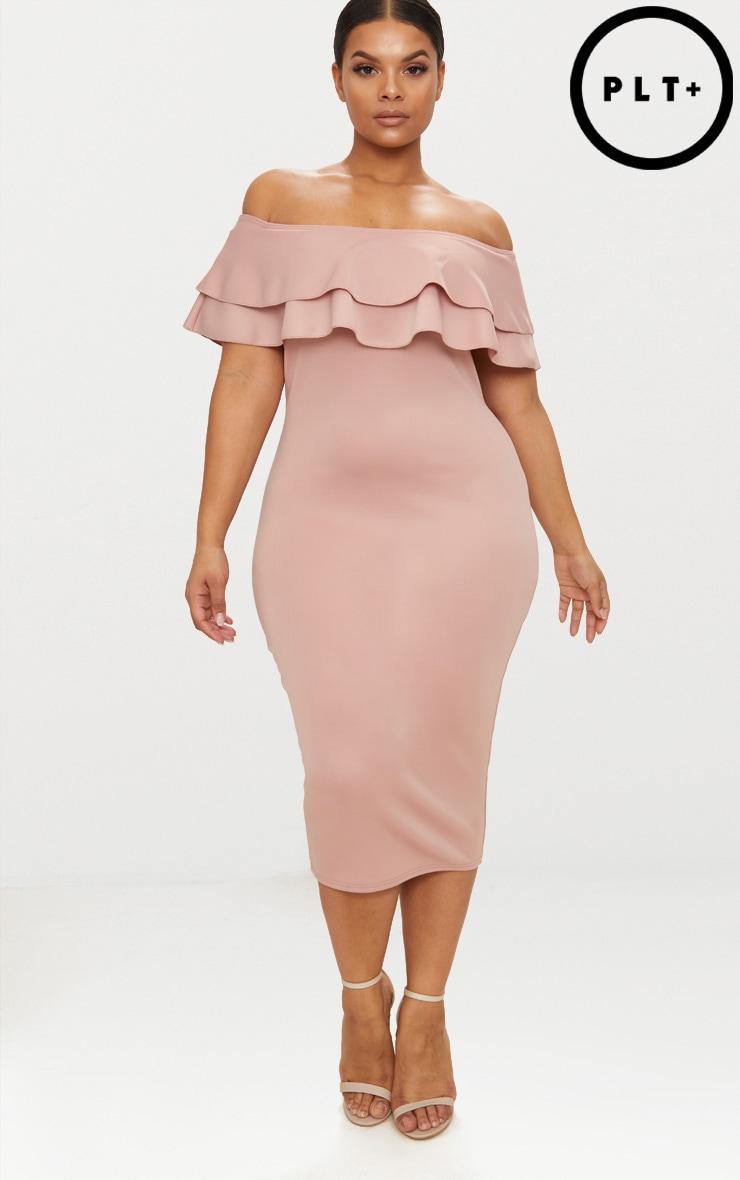 Plus Dusty Pink Frill Bardot Midi Dress 1