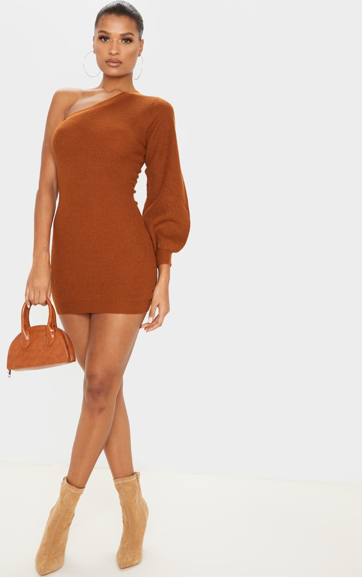 Brown Knitted One Shoulder Bodycon Dress 5