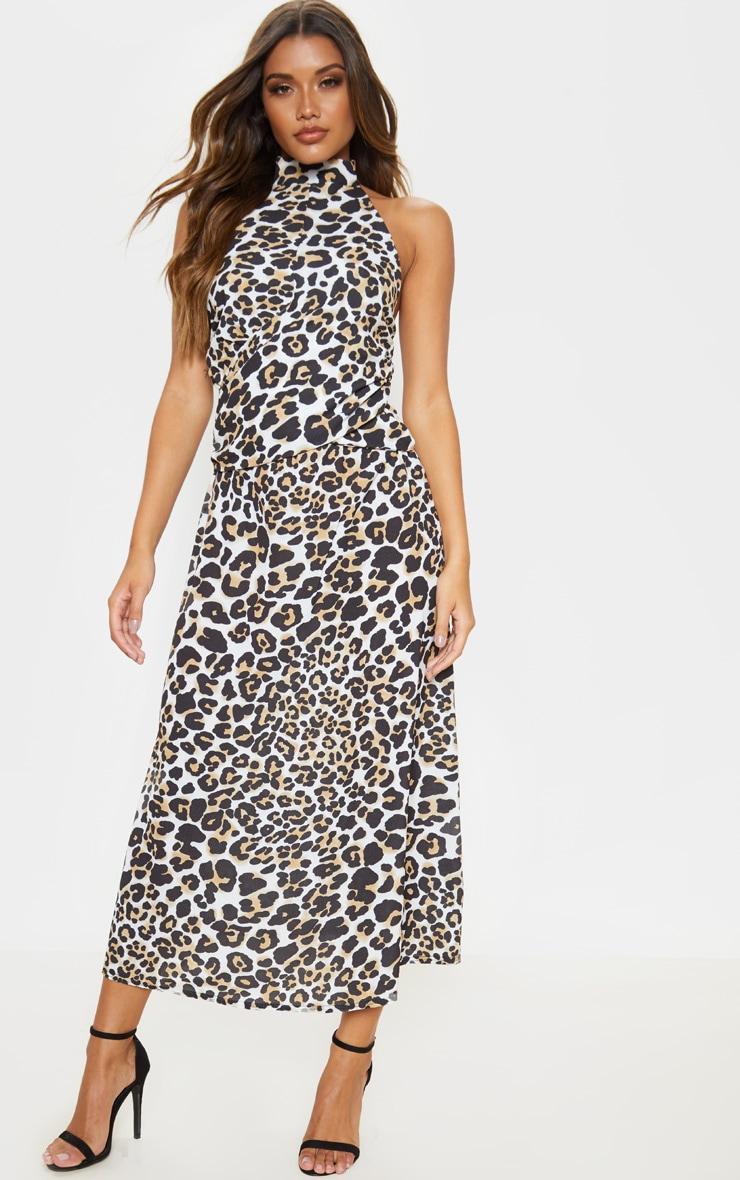 Tan Leopard Print Halterneck Wrap Front Maxi Dress 1