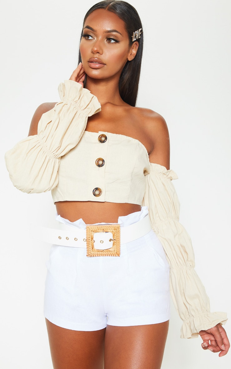 White Woven Square Straw Buckle Belt 1
