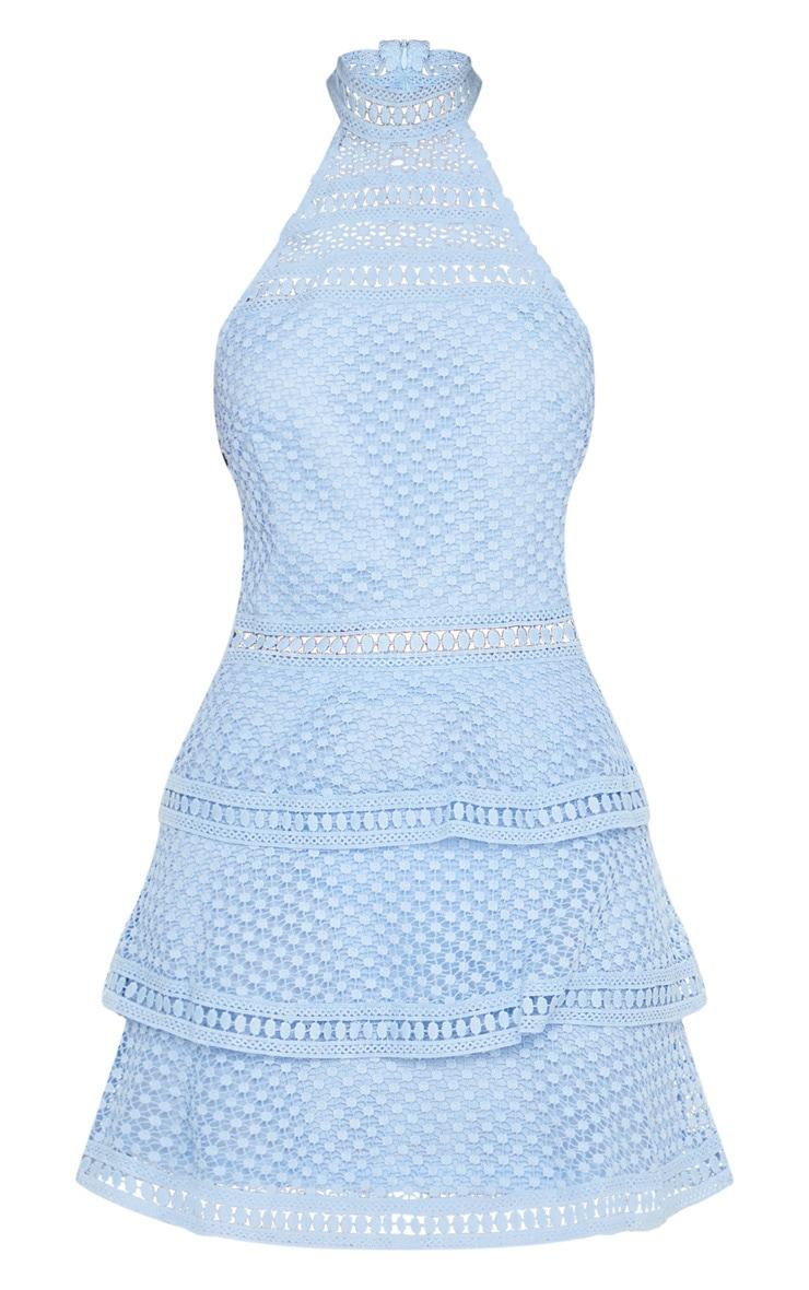 Raine Dusty Blue Lace Panel Tiered Bodycon Dress 3