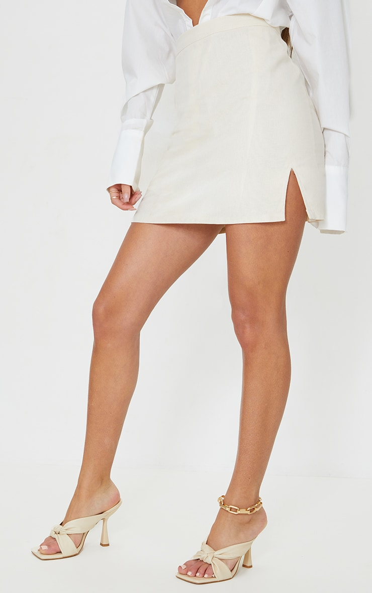 Stone Linen Look Split Hem Mini Skirt 2