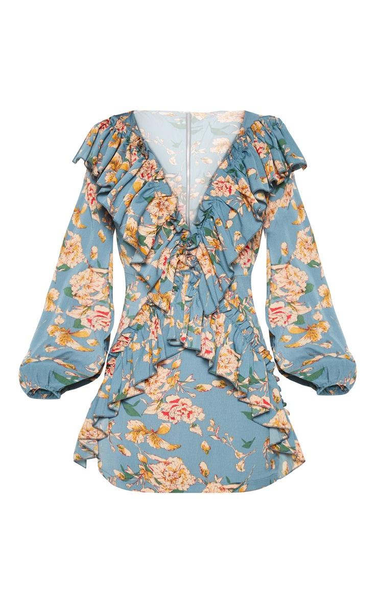 Teal Floral Chiffon Frill Detail Bodycon Dress 2