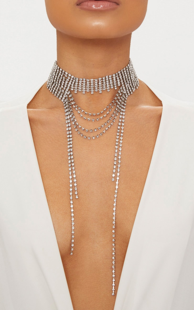 Silver Diamante Oversized Statement Drop Choker 1
