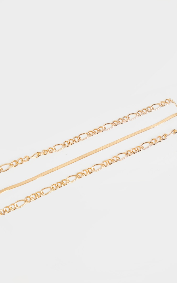 Gold Triple Chain Layering Necklace 3
