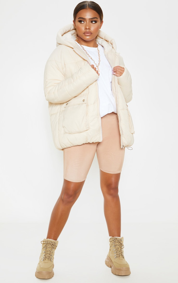 Cream Pocket Front Hooded Puffer 5