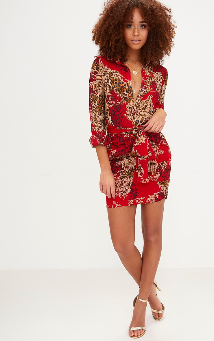Red Baroque Print Ruched Front Shirt Dress 4
