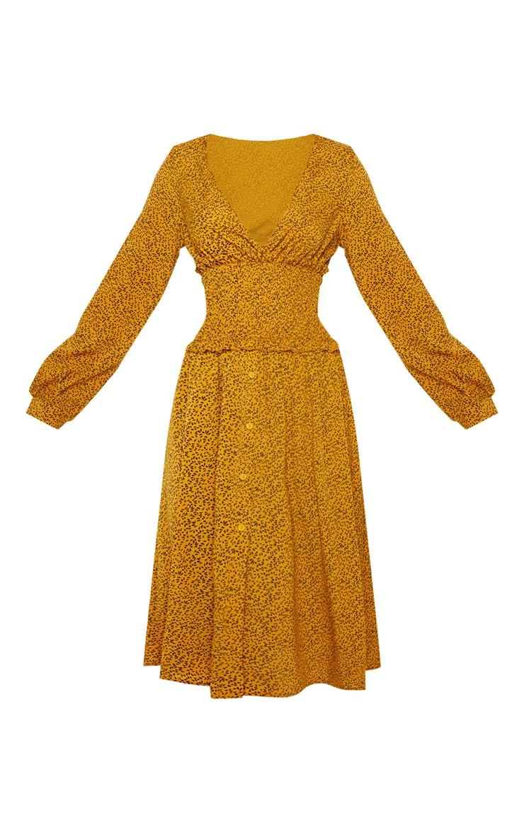 Mustard Floral Print V Neck Shirred Panel Midi Dress 3