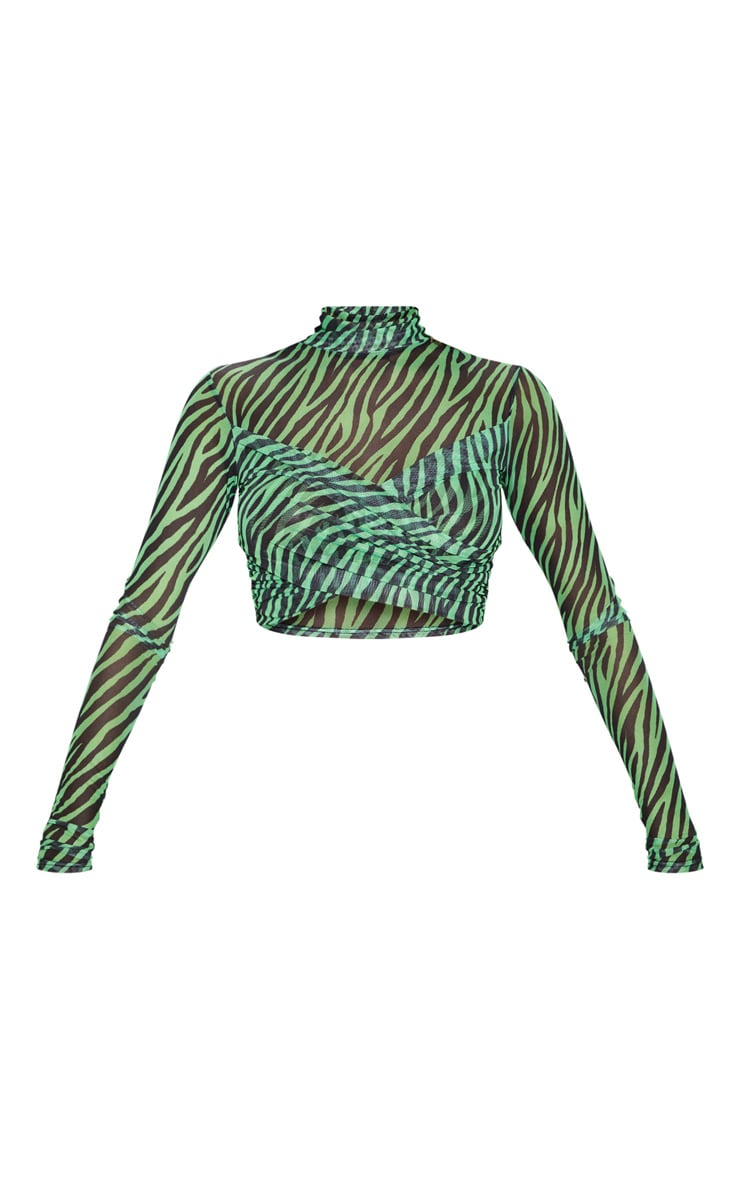 Neon Lime Zebra Printed Mesh Wrap Front High Neck Top 3