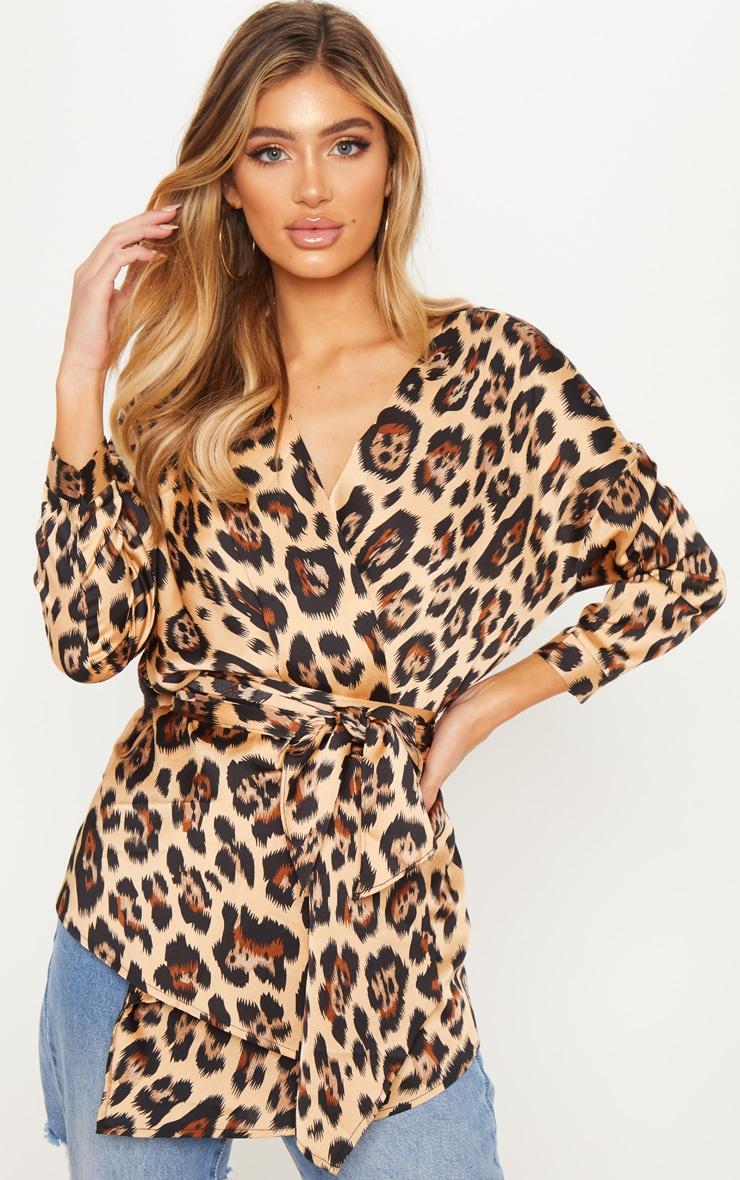 Tan Leopard Wrap Shirt 1