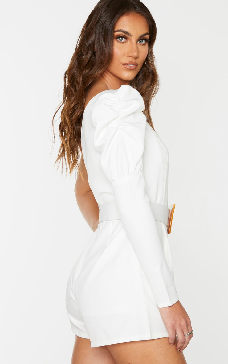 White Puff Sleeve One Shoulder Belted Playsuit 2