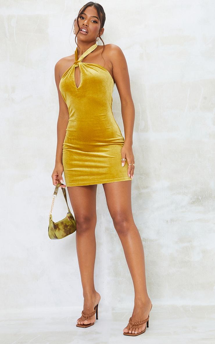 Chartreuse Velvet Halterneck Knotted Bodycon Dress 3