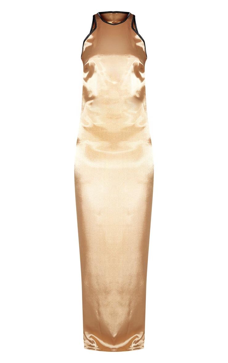 Gold Satin Contrast Piping Maxi Dress 5