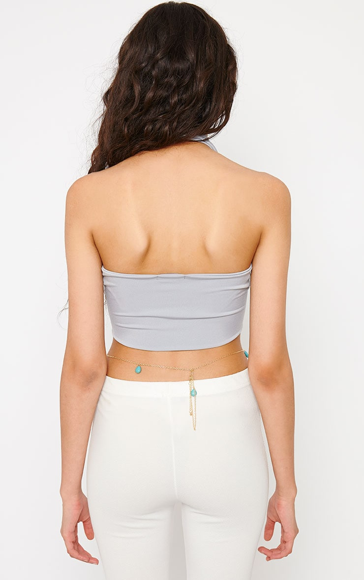 Eloise Grey Halterneck Crop Top 2
