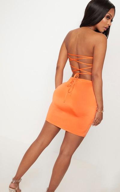Shape Orange Slinky Lace Up Back Bodycon Dress