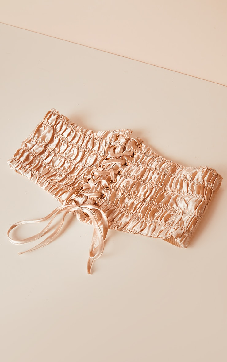 Nude Ruched Front Corset Belt 1