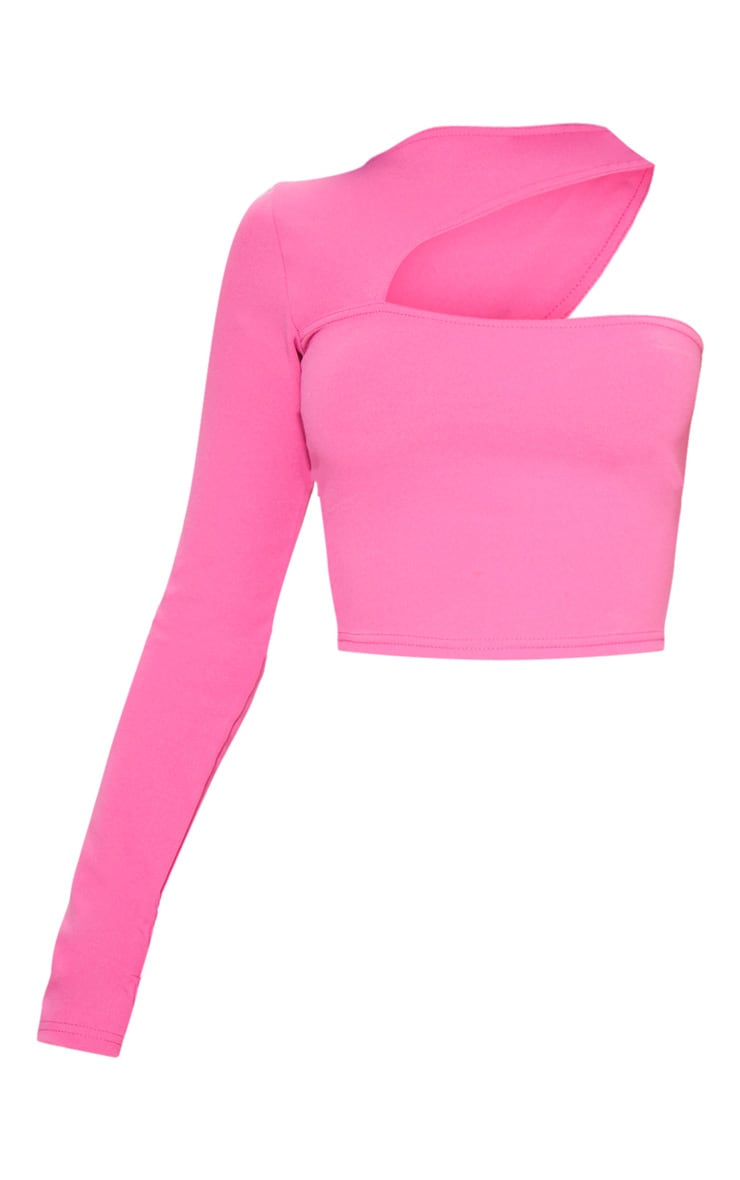 Hot Pink One Shoulder Cut Out Top 3