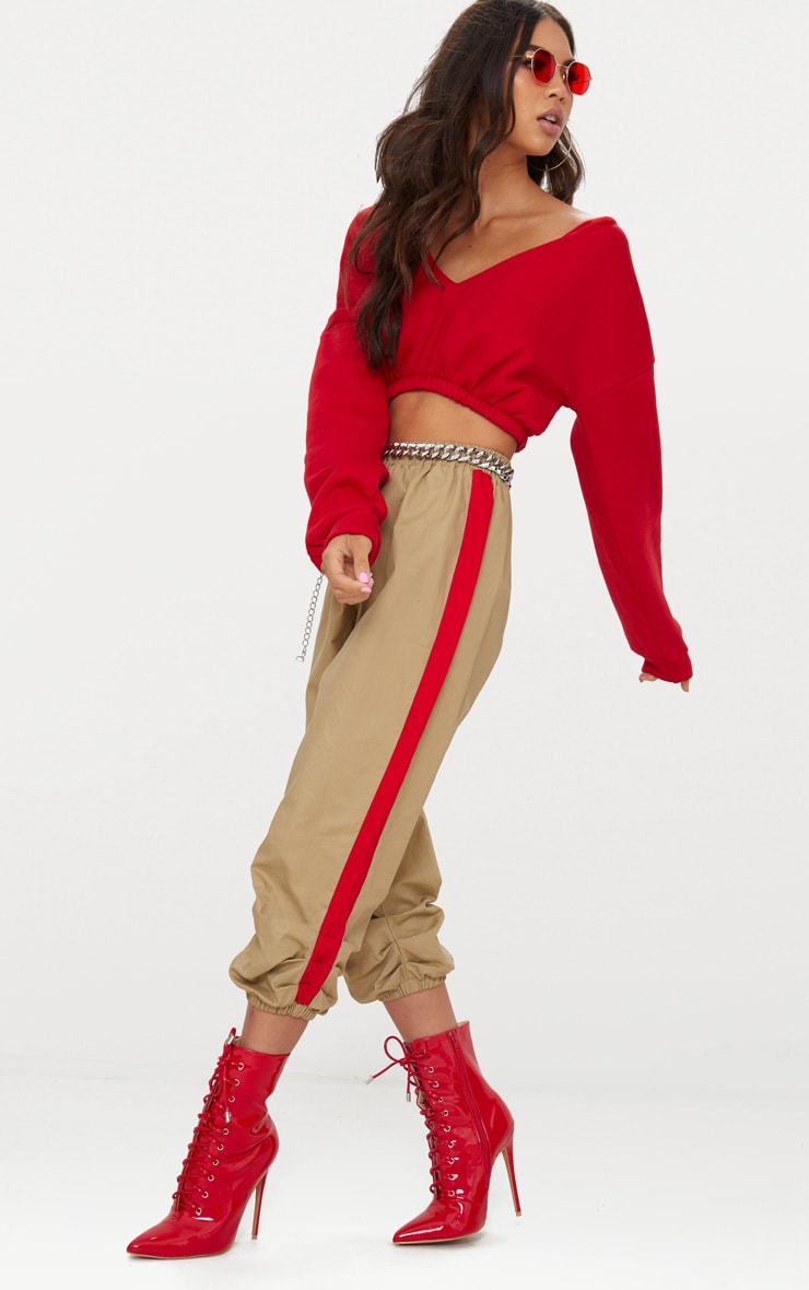 Red Crop Off Shoulder Sweater  4