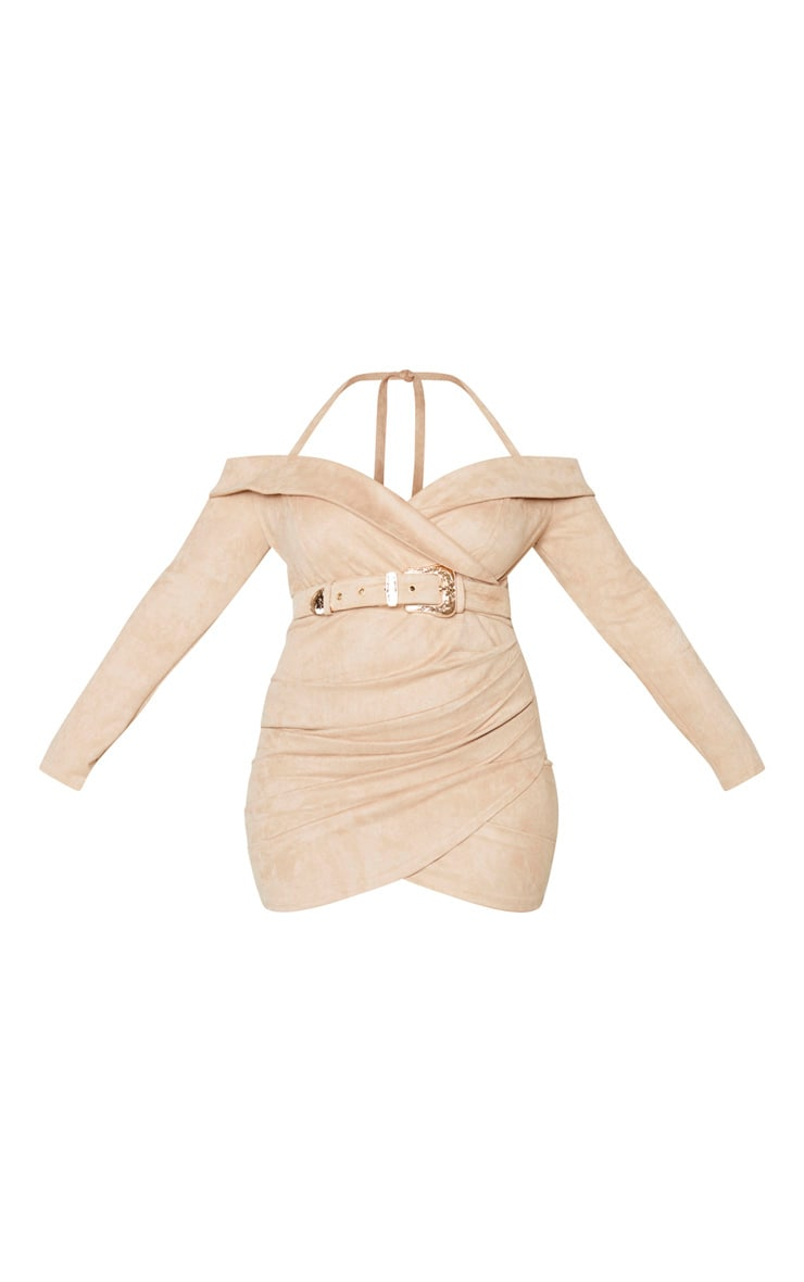 Plus Stone Faux Suede Bardot Dress 3