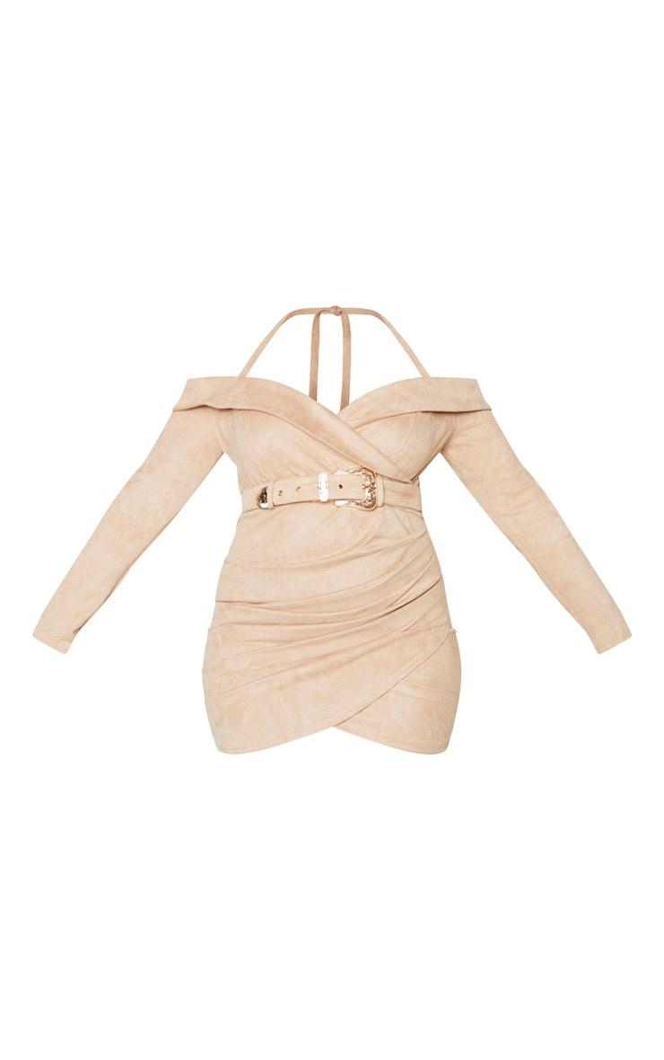 Plus Stone Faux Suede Bardot Dress 3