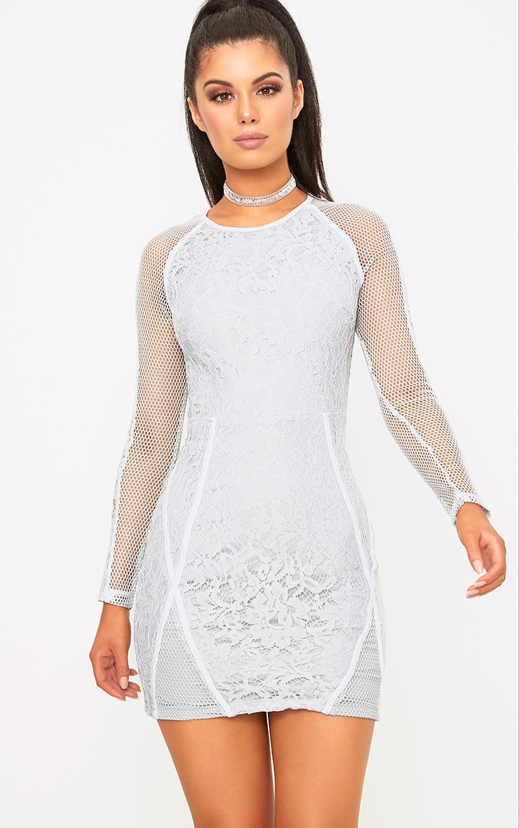 Ida Grey Lace Fishnet Panel Bodycon Dress 1