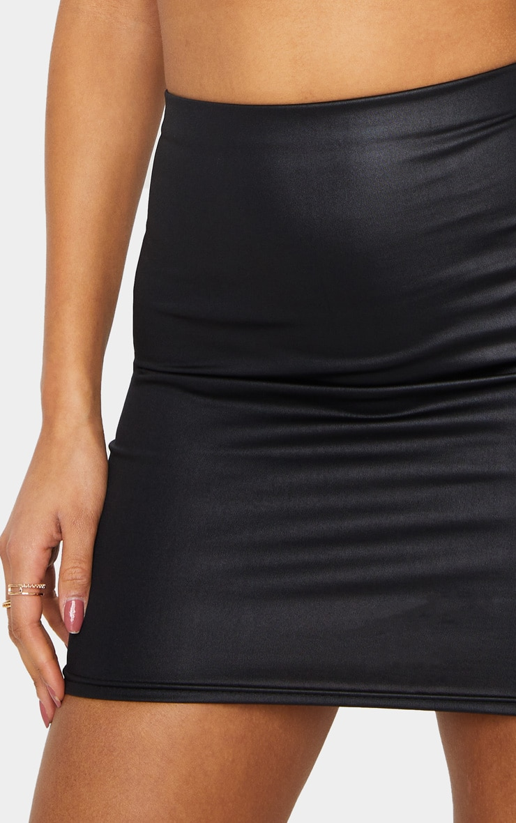 Black Leather Look Mini Skirt 5