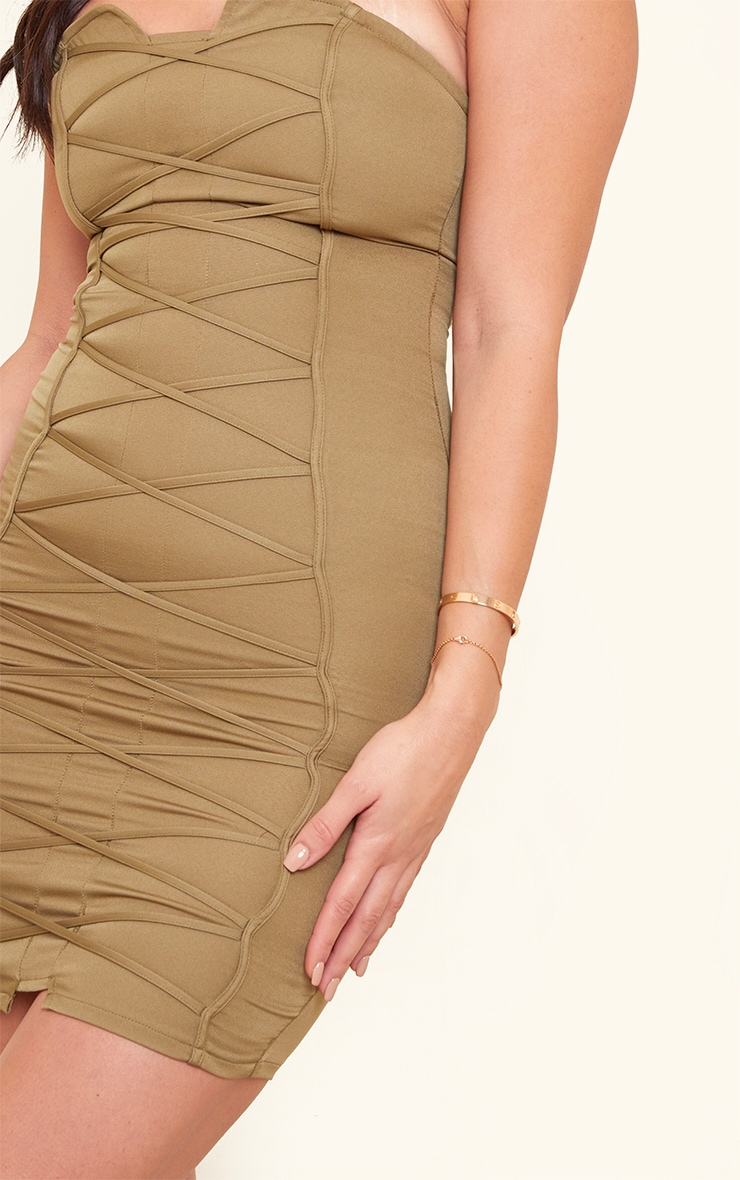 Tall Olive Bandeau Woven Corset Detail Bodycon Dress  4