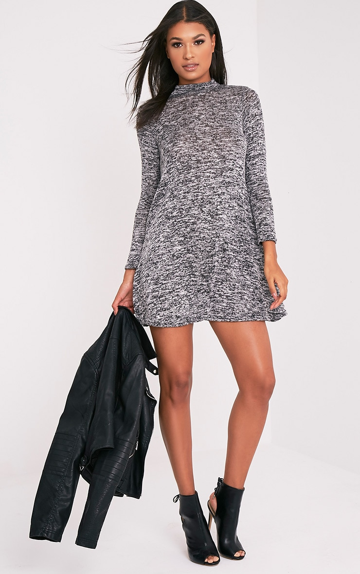 Annwyl Grey High Neck Long Sleeved Swing Dress 10