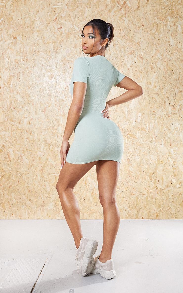 Sage Khaki Recycled Rib Short Sleeve Split Neck Bodycon Dress 2