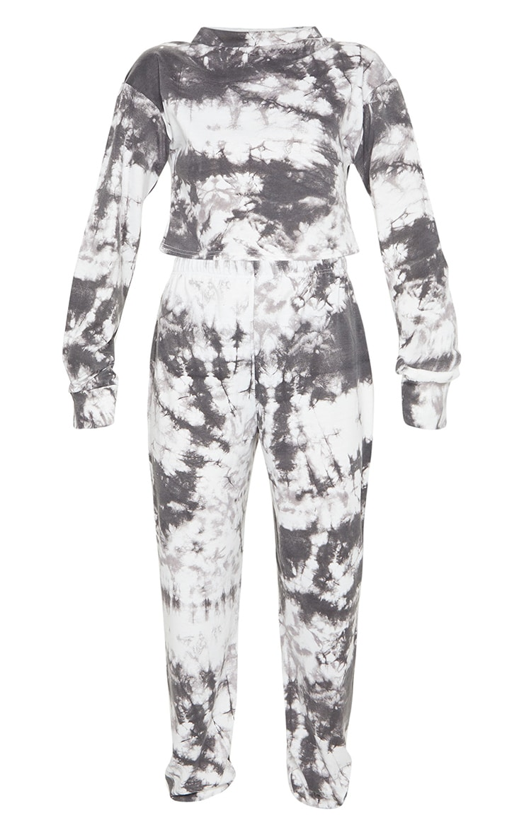 Black Tie Dye Cropped Sweat And Jogger Set 5