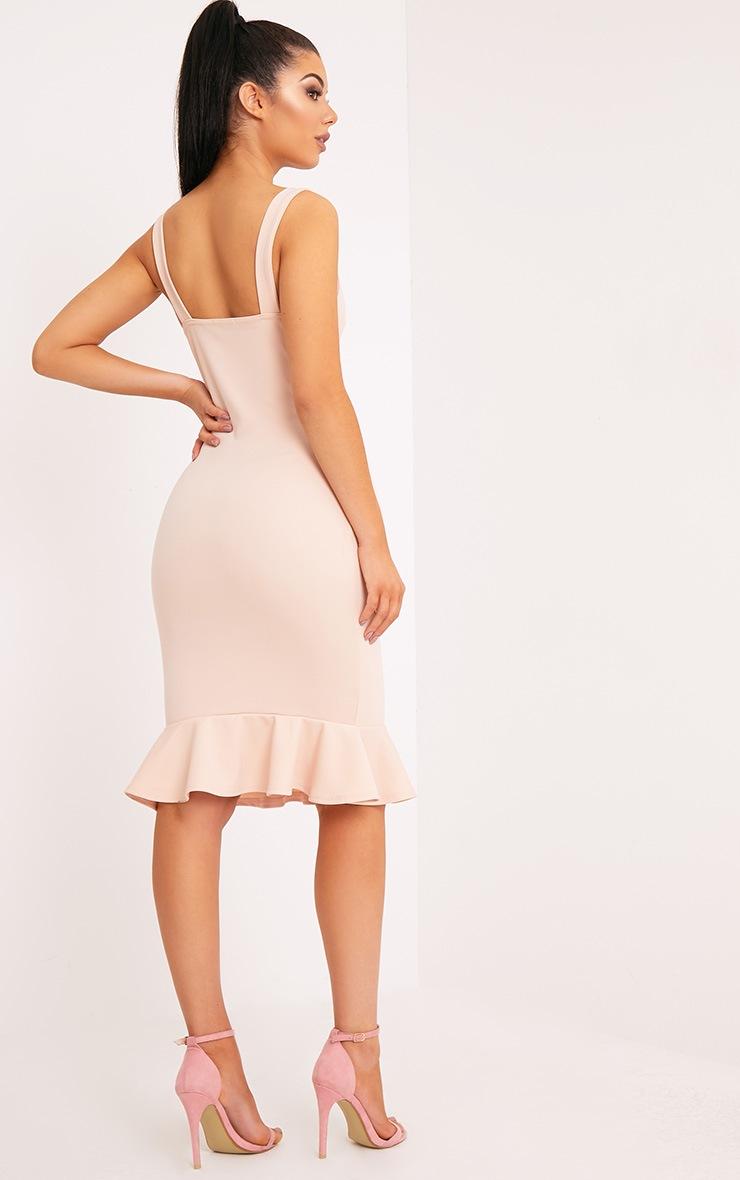 Mikaela Nude Plunge Frill Hem Midi Dress 2