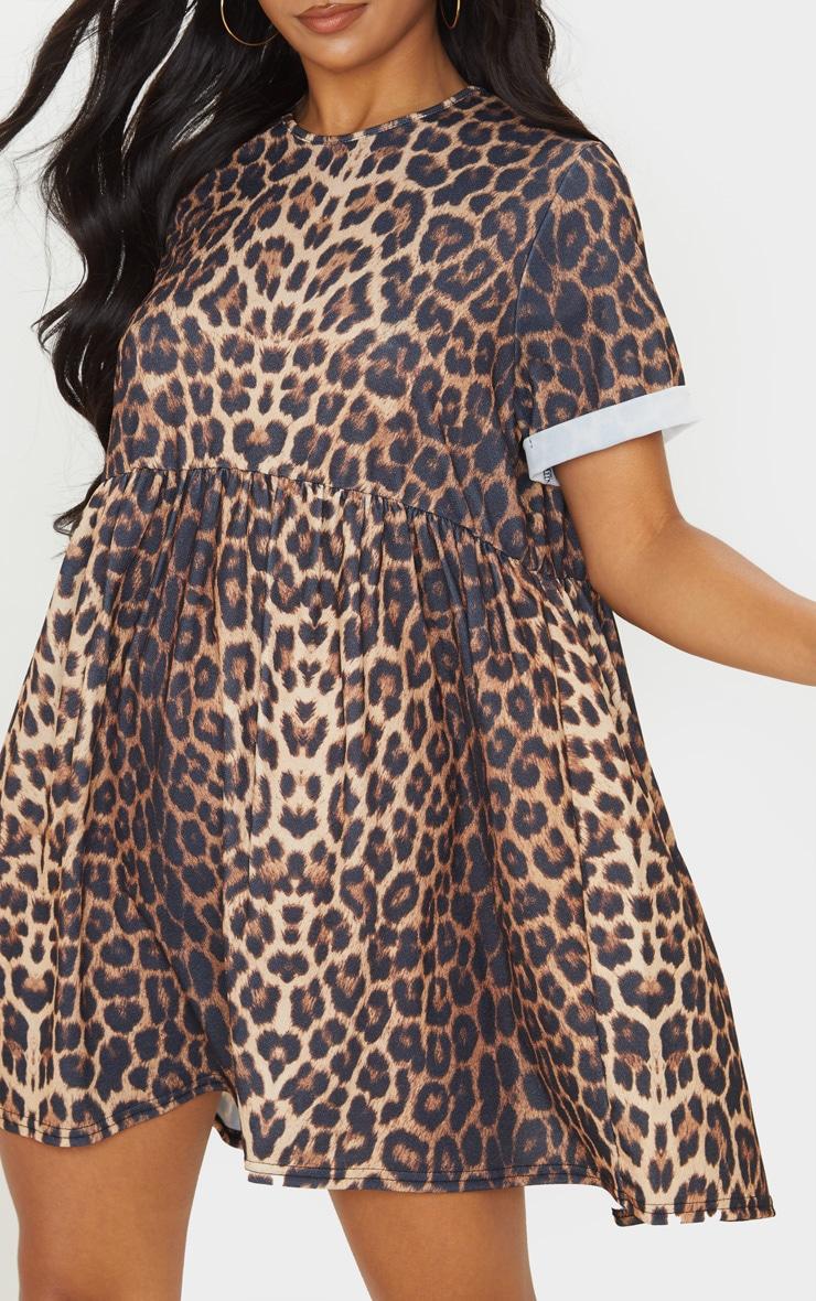 Beige Leopard Print Roll Sleeve Smock Dress 5
