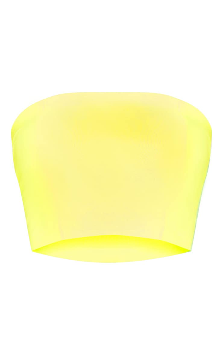 Neon Yellow Slinky Bandeau Crop Top 3
