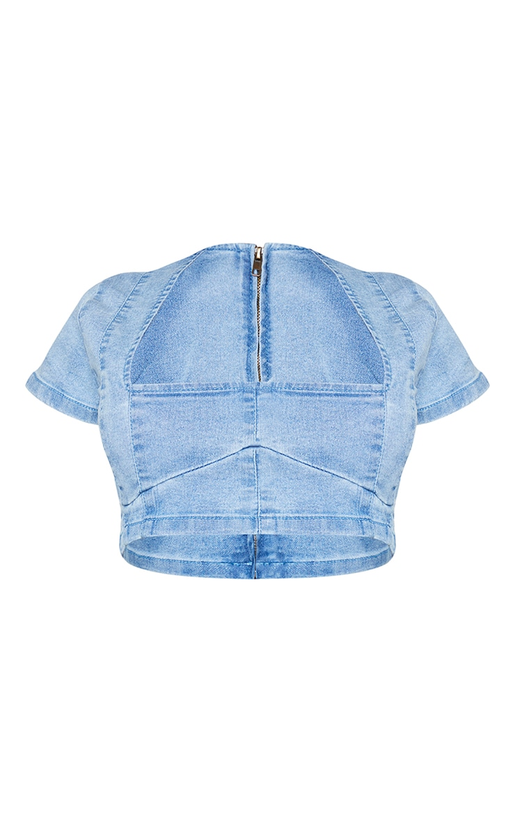 Shape Vintage Denim Seam Detail Underbust Crop Top 5
