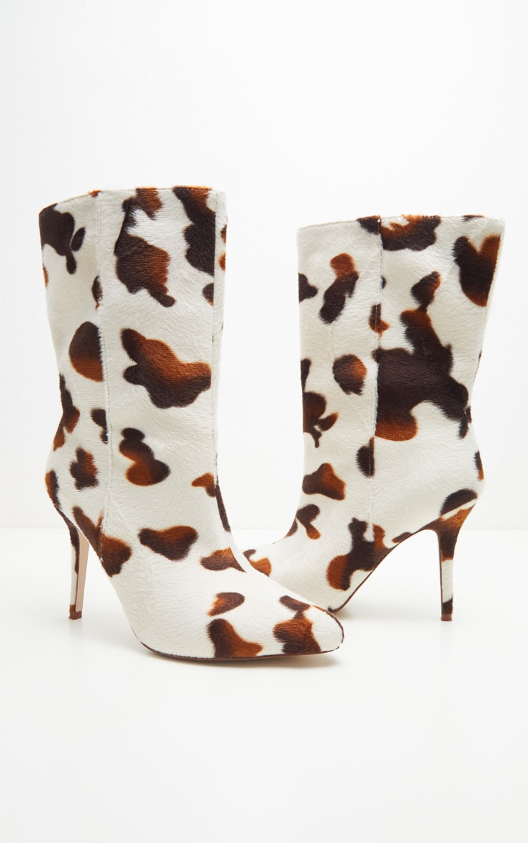 Cow Print Mid Heel Ankle Boot  4