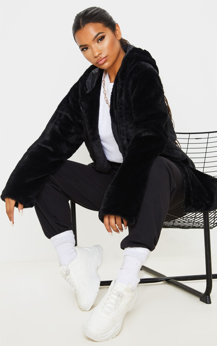 Black Hooded Faux Fur Midi Coat 4
