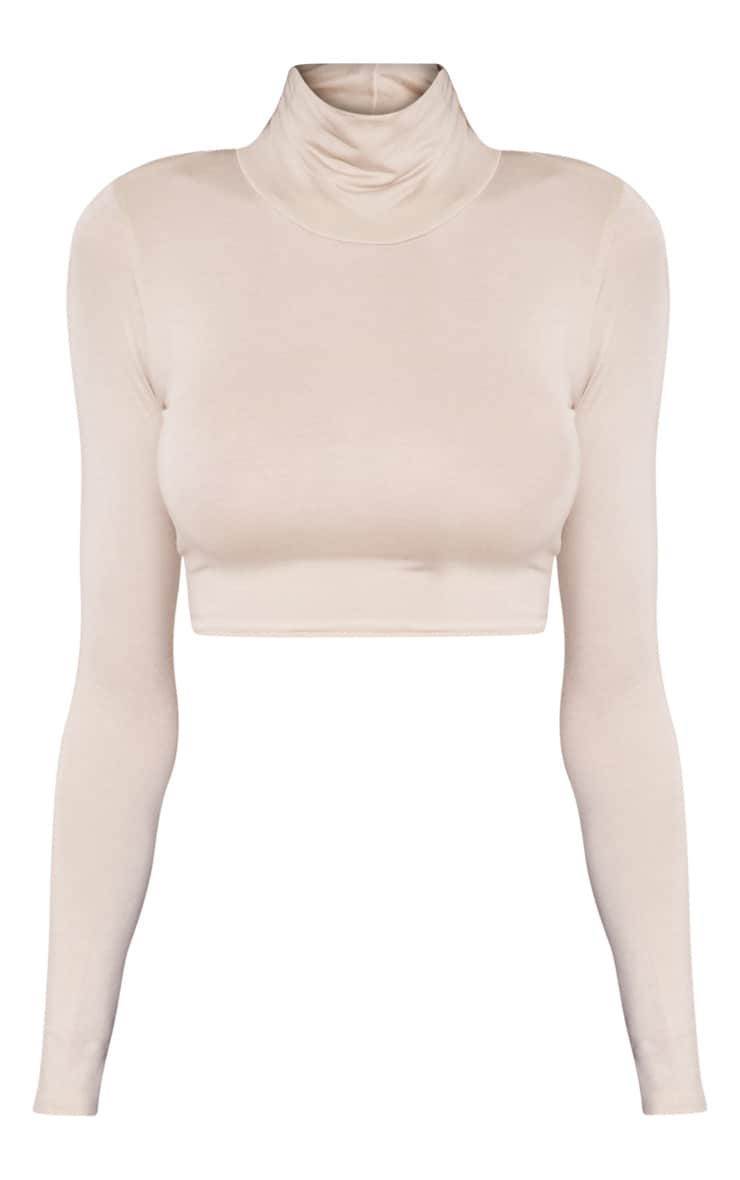 Basic Stone Roll Neck Crop Top 3