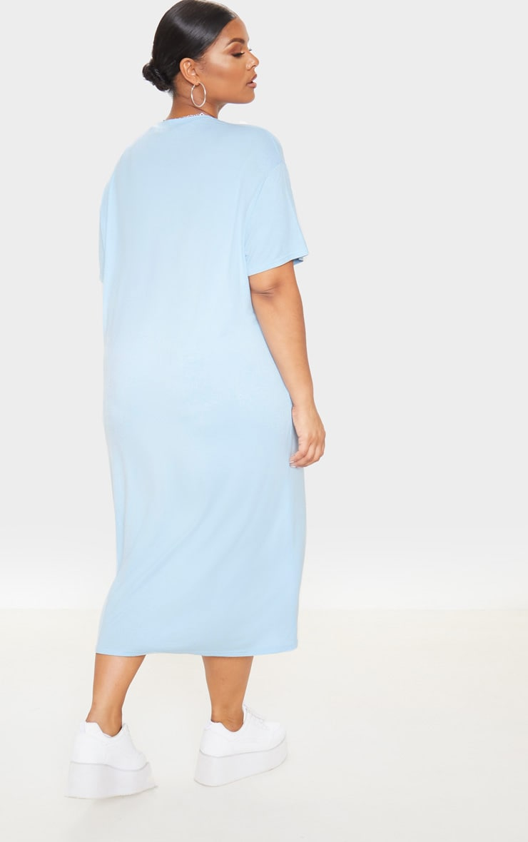 Plus Dusty Blue Oversized Boxy Midi T Shirt Dress 2