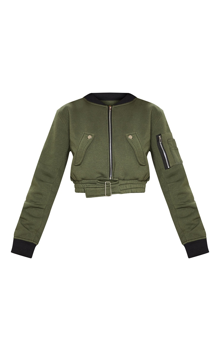 Khaki Cropped Bomber Jacket 3