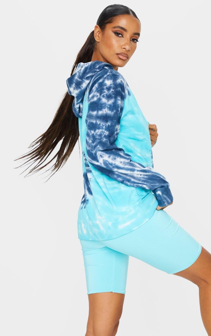 Blue Tie Dye Oversized Long Sleeve Hoodie 2