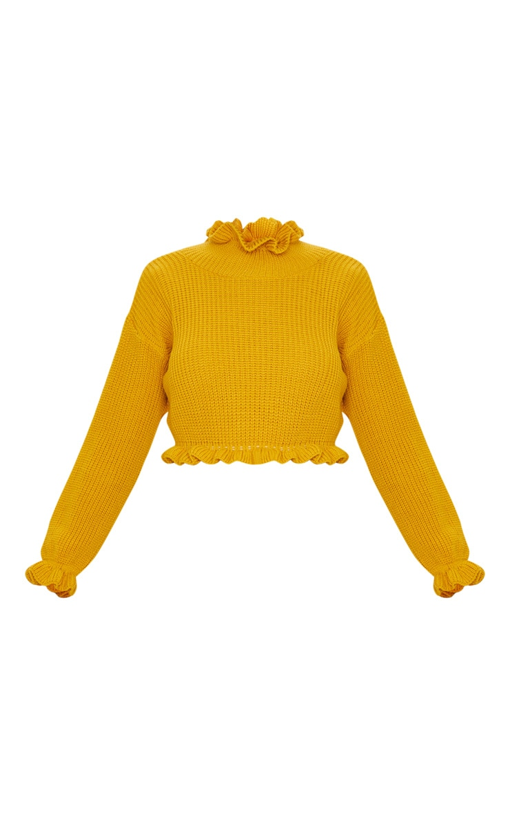Mustard Knit High Neck Ruffle Trim Crop Jumper 3
