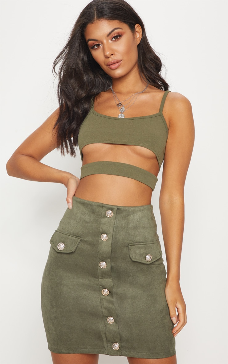 Khaki Faux Suede Military Button Mini Skirt 1