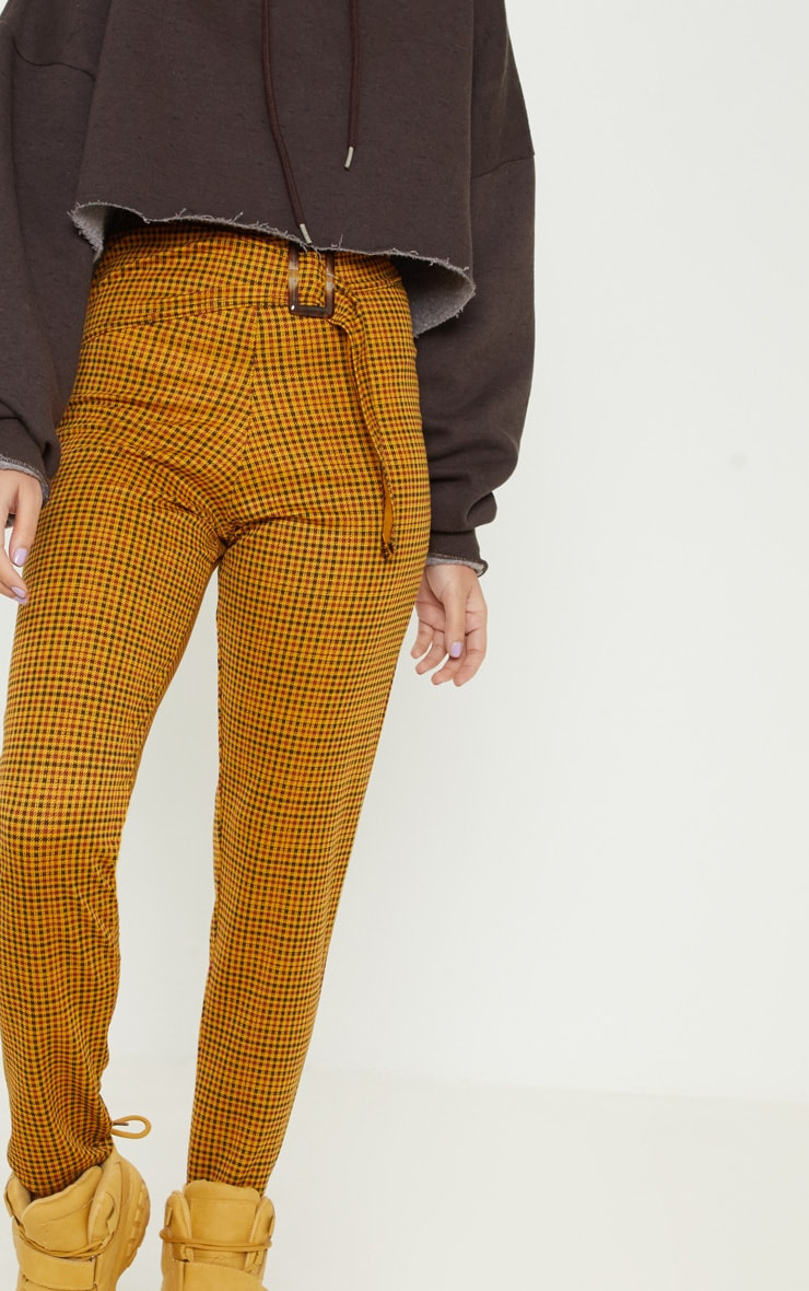 Petite Mustard Checked Rectangle Tortoise Belt Trousers 5