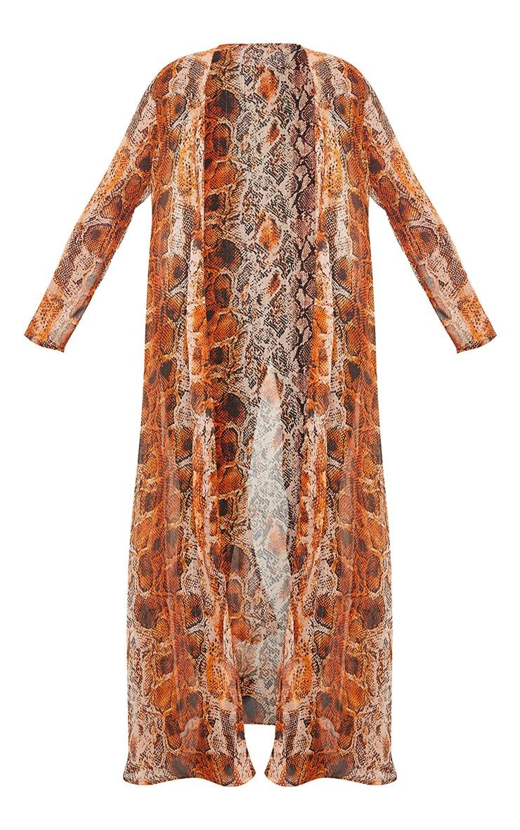 Plus Orange Snake Print Beach Kimono 5