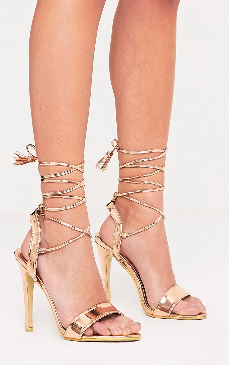 Camila Rose Gold Tassel Lace Up Heeled Sandals