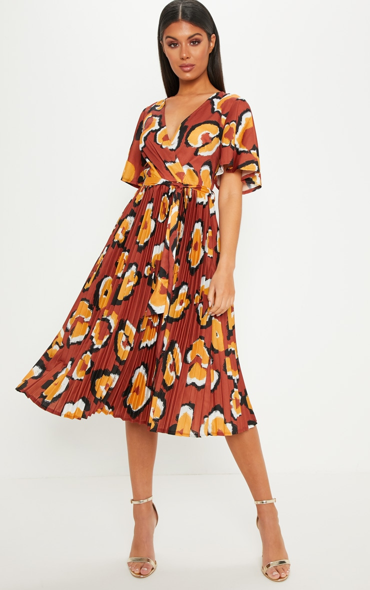 Rust Oversized Leopard Print Pleated Midi Dress