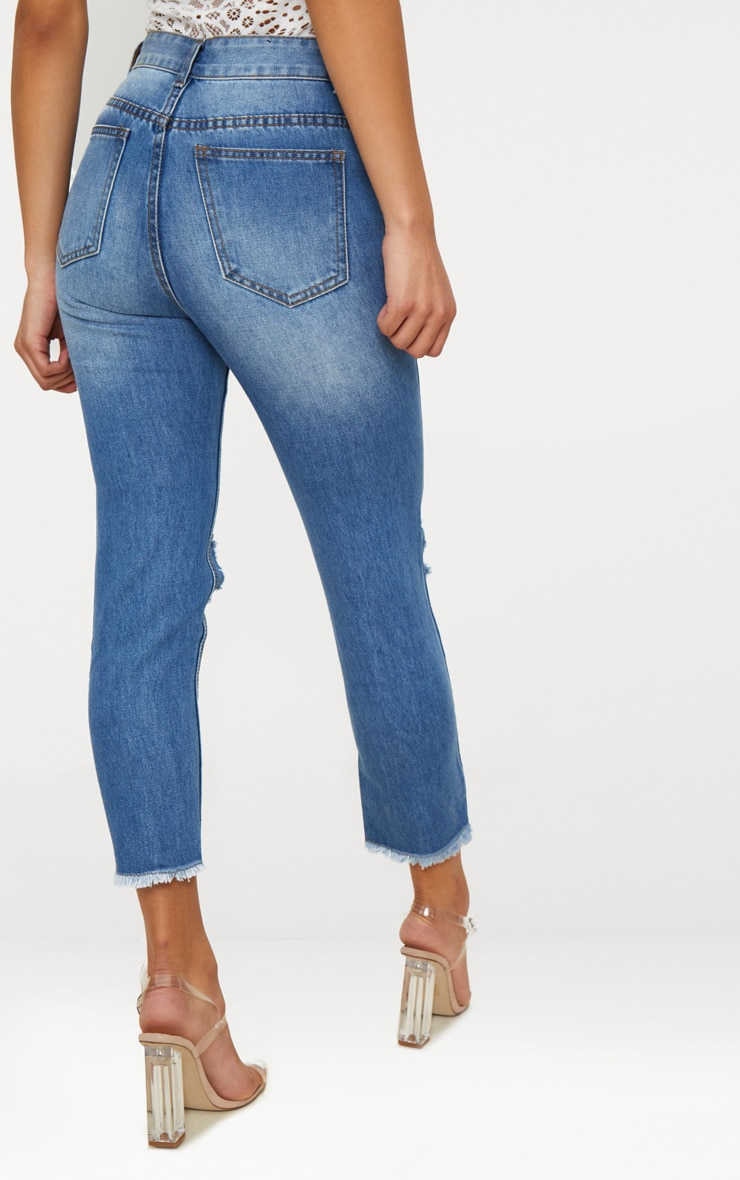 Mid Wash Knee Rip Straight Leg Jean 4