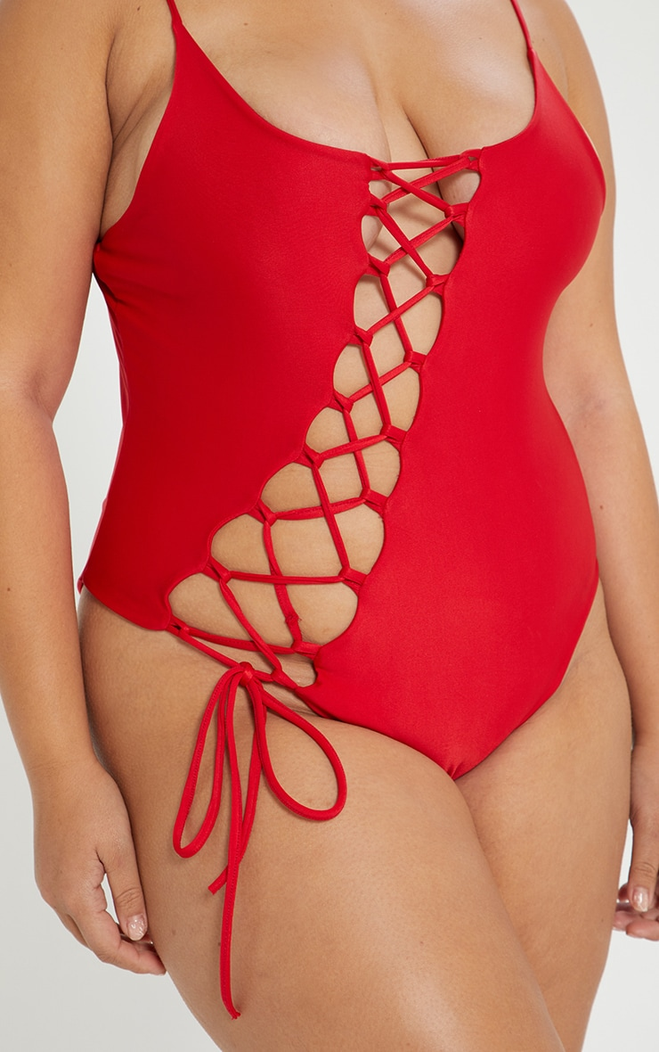 Plus Red Asymmetric Lace Up Swimsuit 6