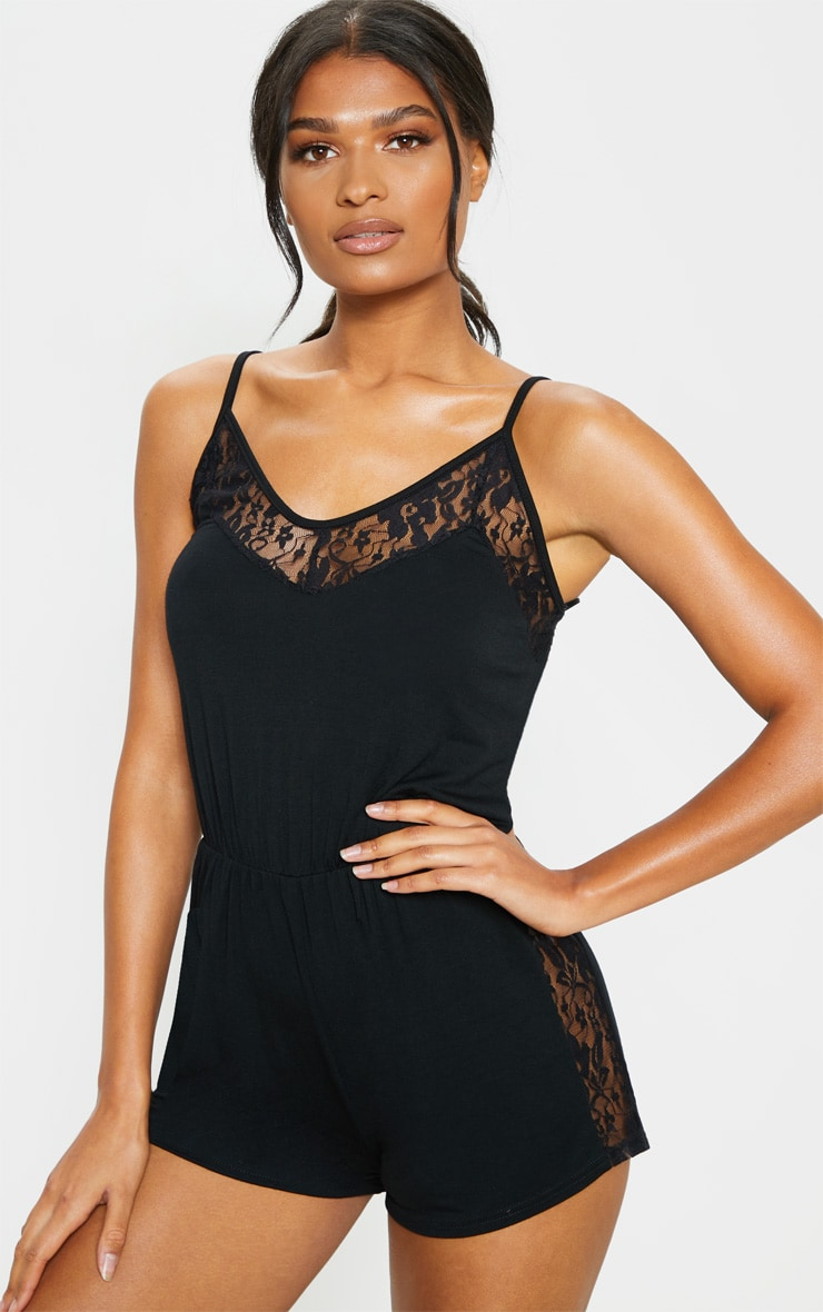 Black Lace Panel Jersey Teddy 1